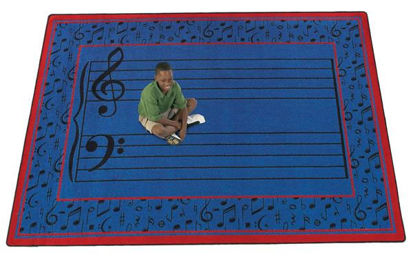 Fully Staffed Blue Musical Activity Rug