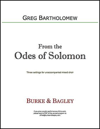 From the Odes of Solomon