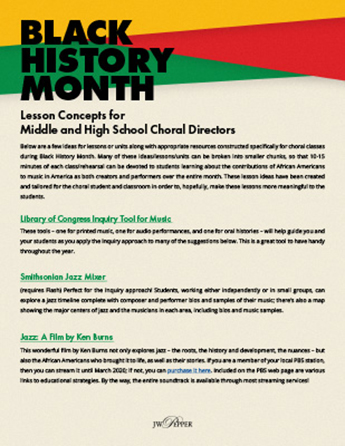 Black History Month Lesson Concepts for Choral Directors