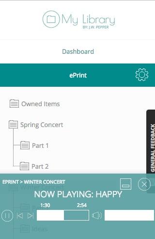 ePrint digital sheet music audio preview