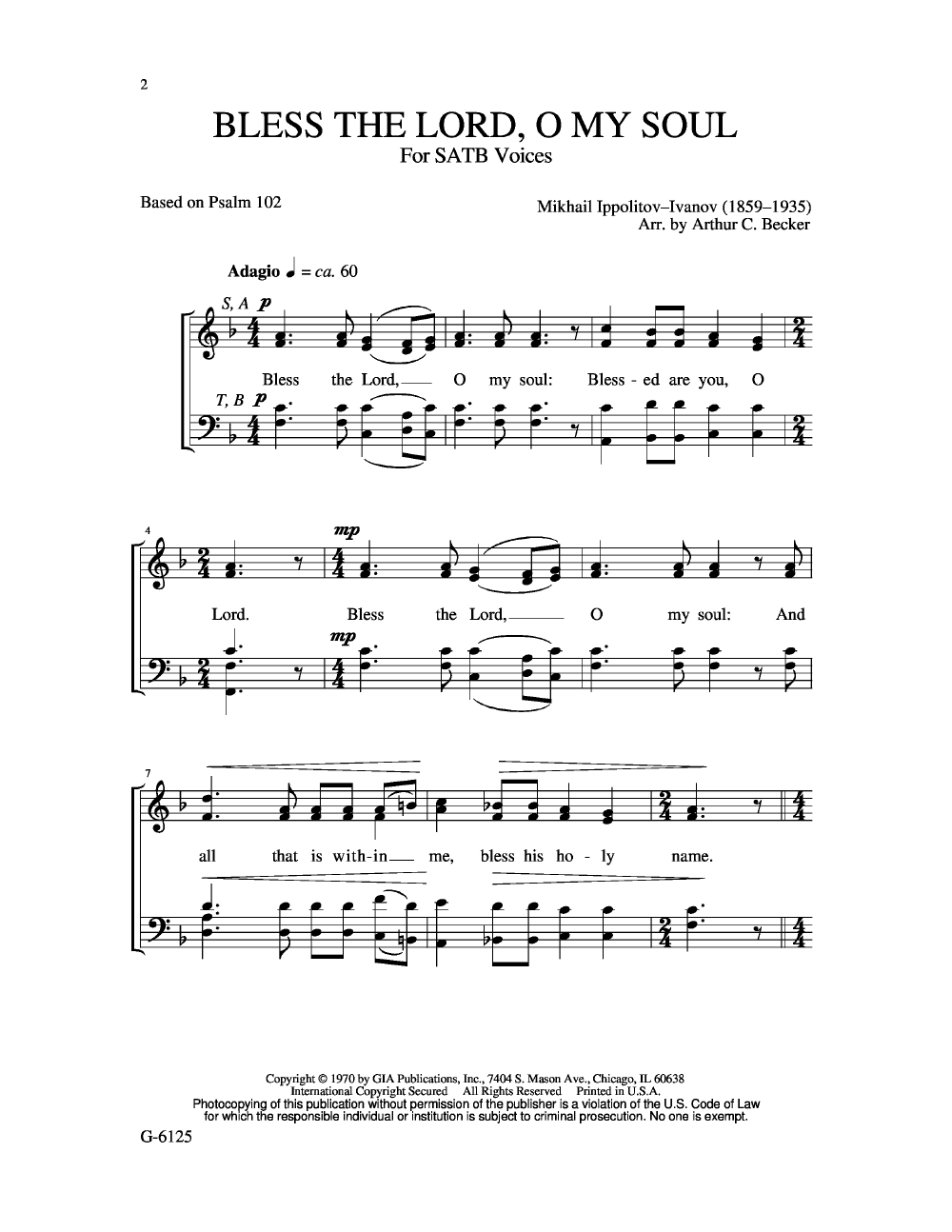 Free Lead Sheet – Bless The Lord, O My Soul – Michael ...
