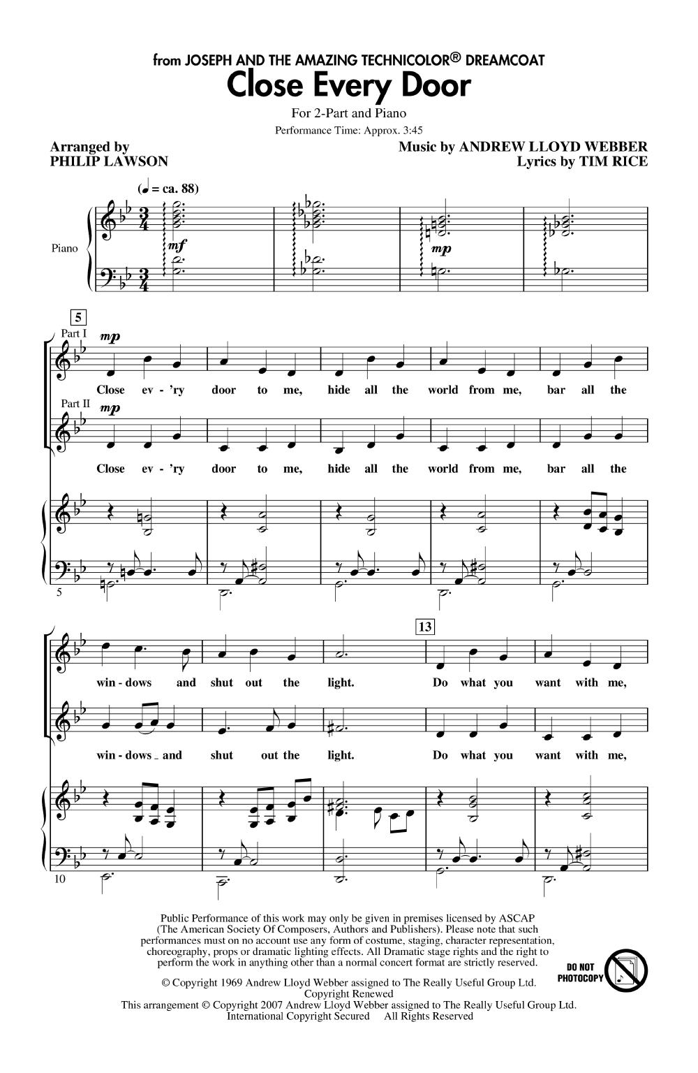 Close Every Door. arr. Philip Lawson - Hal Leonard Corporation  sc 1 st  JW Pepper & Close Every Door (Two-Part ) arr. Philip Law   J.W. Pepper Sheet Music