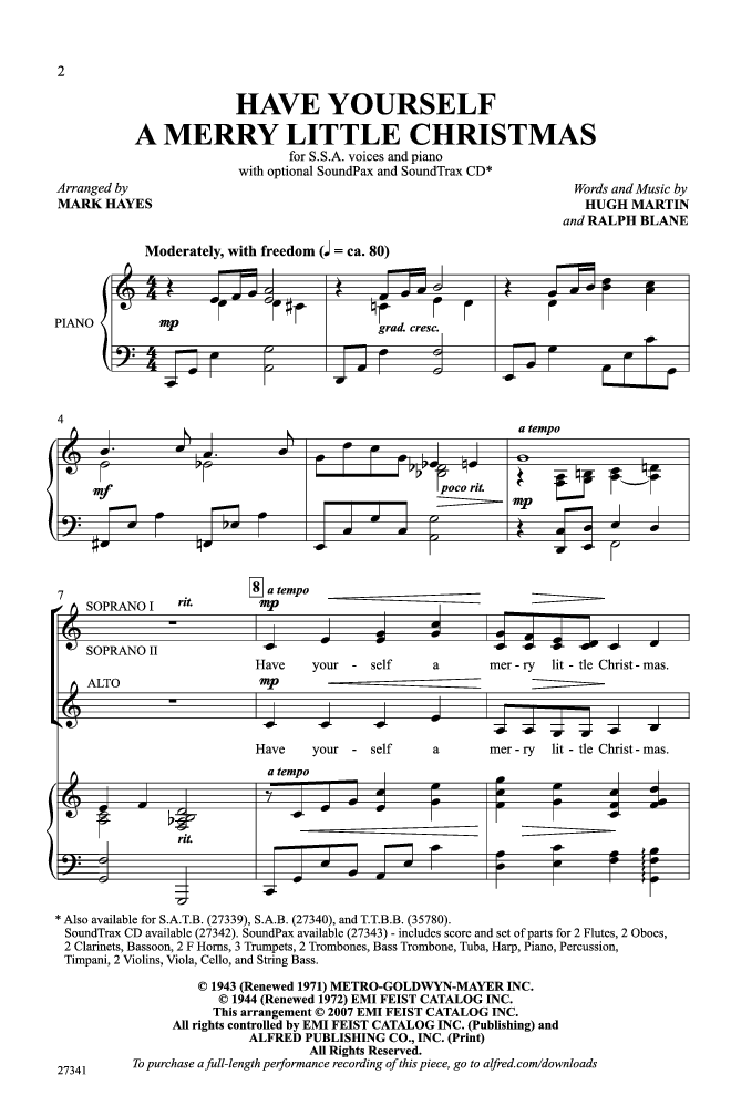 Have Yourself A Merry Little Christmas Ssa Jw Pepper Sheet Music