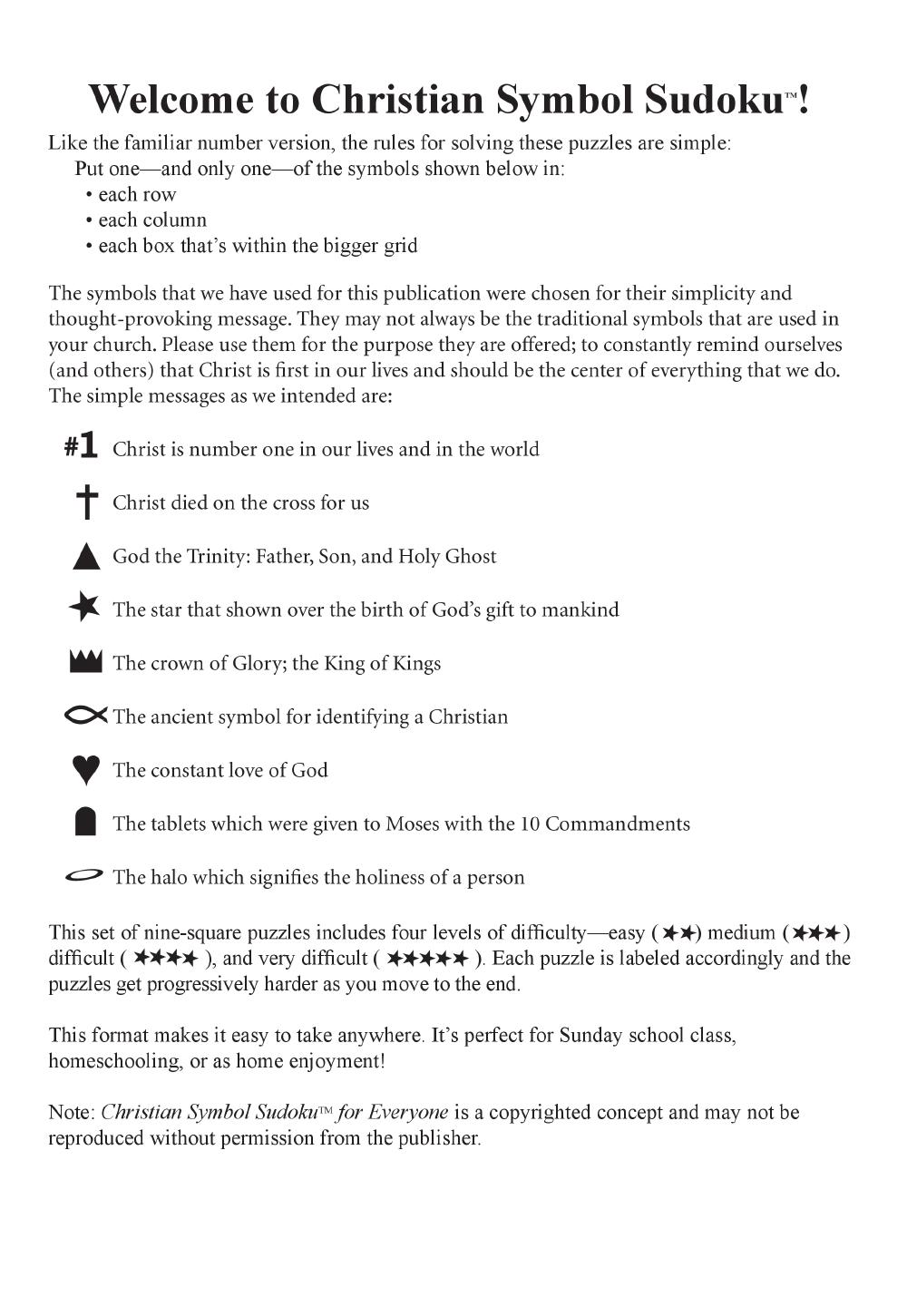 Christian Symbol Sudoku For Everyone Book Jw Pepper Sheet Music