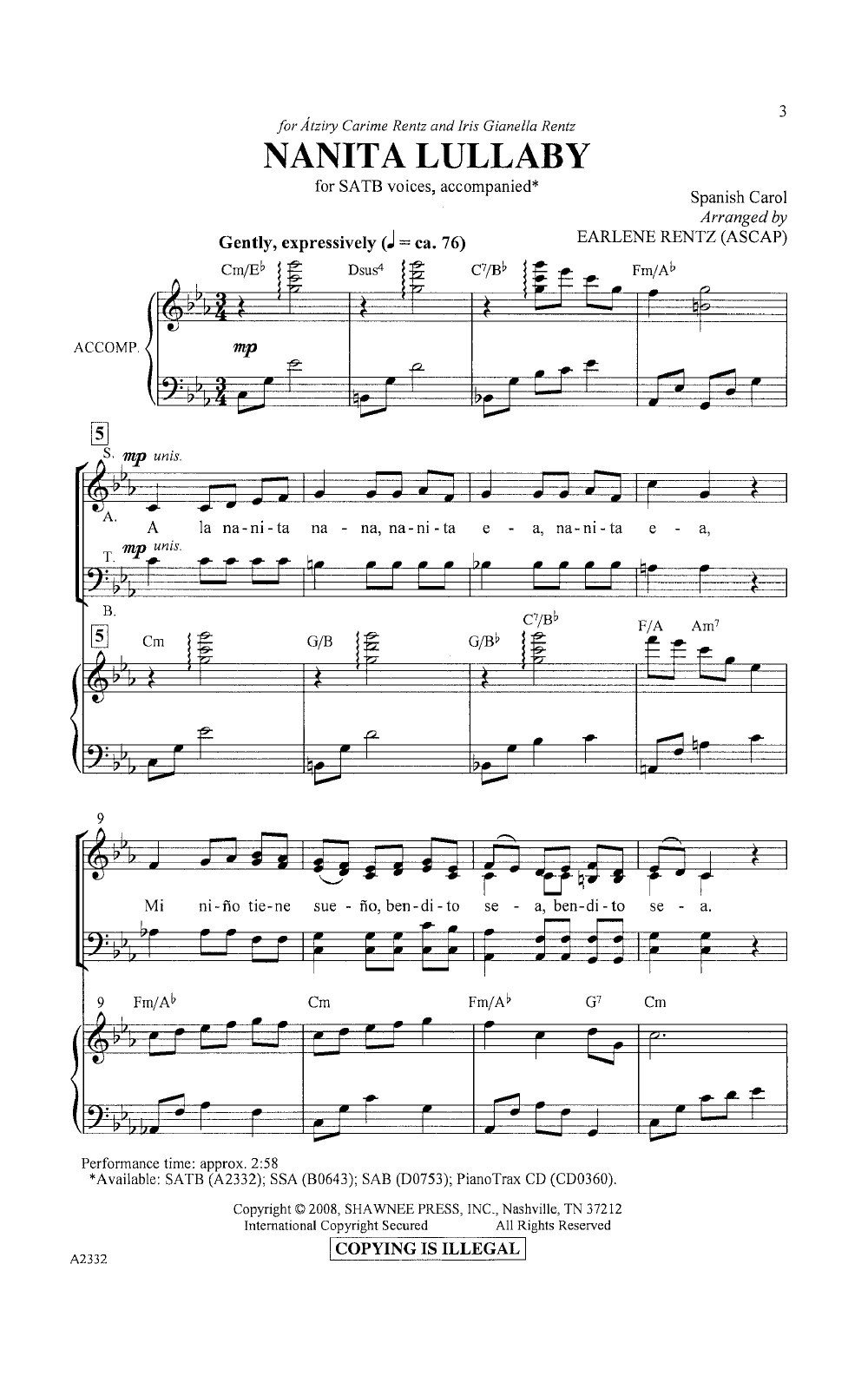 Nanita Lullaby Satb Arr Earlene Rentz Jw Pepper Sheet Music