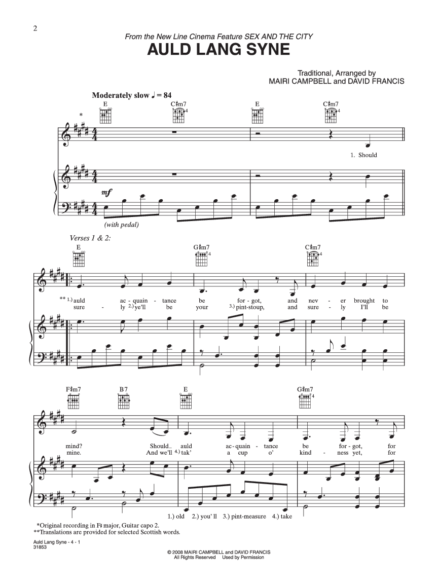 Auld Lang Syne By Campbell Francis Jw Pepper Sheet Music