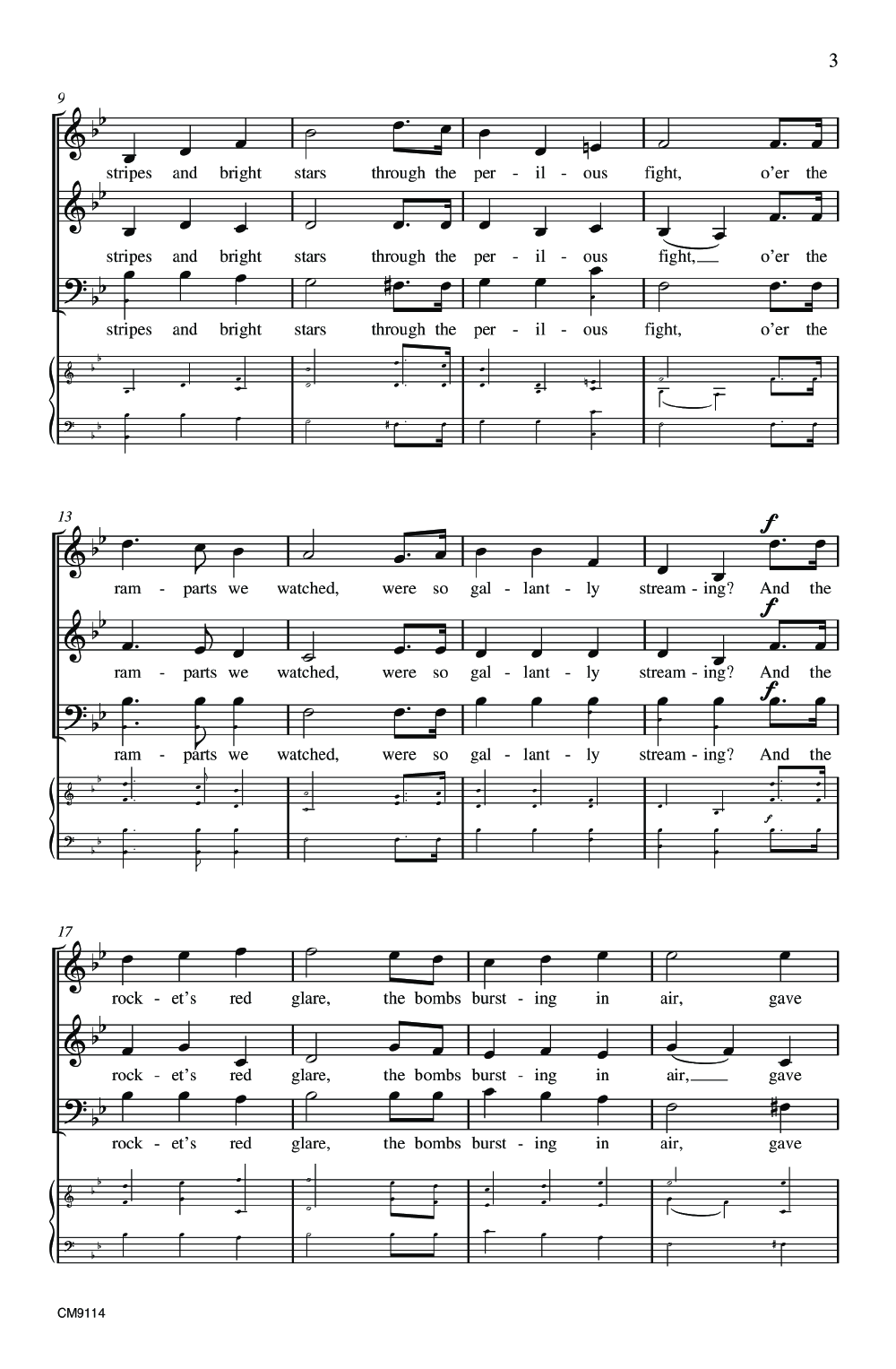 The Star Spangled Banner Three Part Mixed Jw Pepper Sheet Music