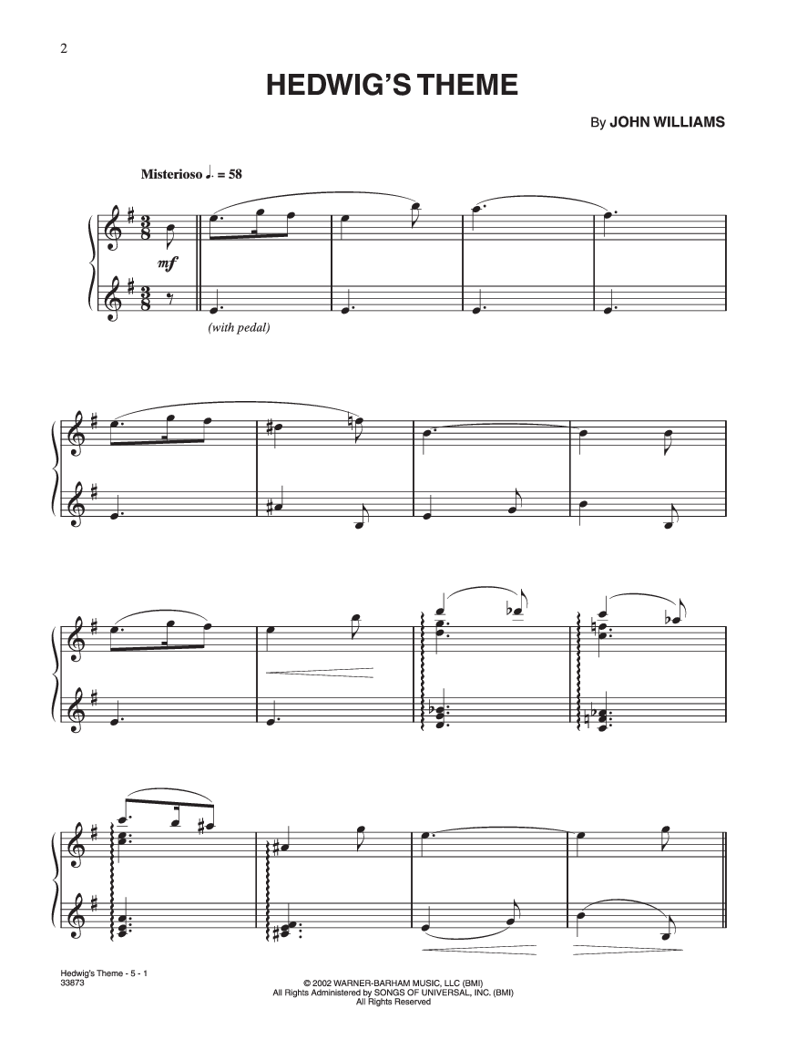 Hedwig's Theme for Piano (pretty beefy yo)   Sheet music for Piano    MuseScore