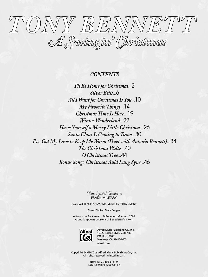 A Swingin\' Christmas by Tony Bennett| J.W. Pepper Sheet Music