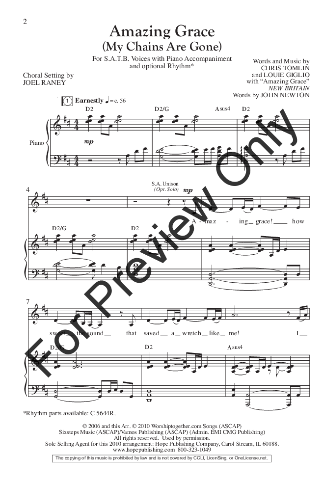 Amazing Grace Satb By Chris Tomlin Loui Jw Pepper Sheet Music