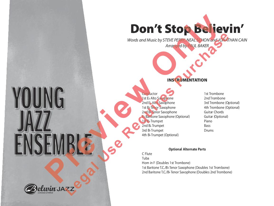 Dont Stop Believin Arr Paul Baker Jw Pepper Sheet Music