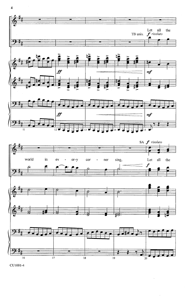 Let All The World In Every Corner Sing Satb Jw Pepper Sheet Music
