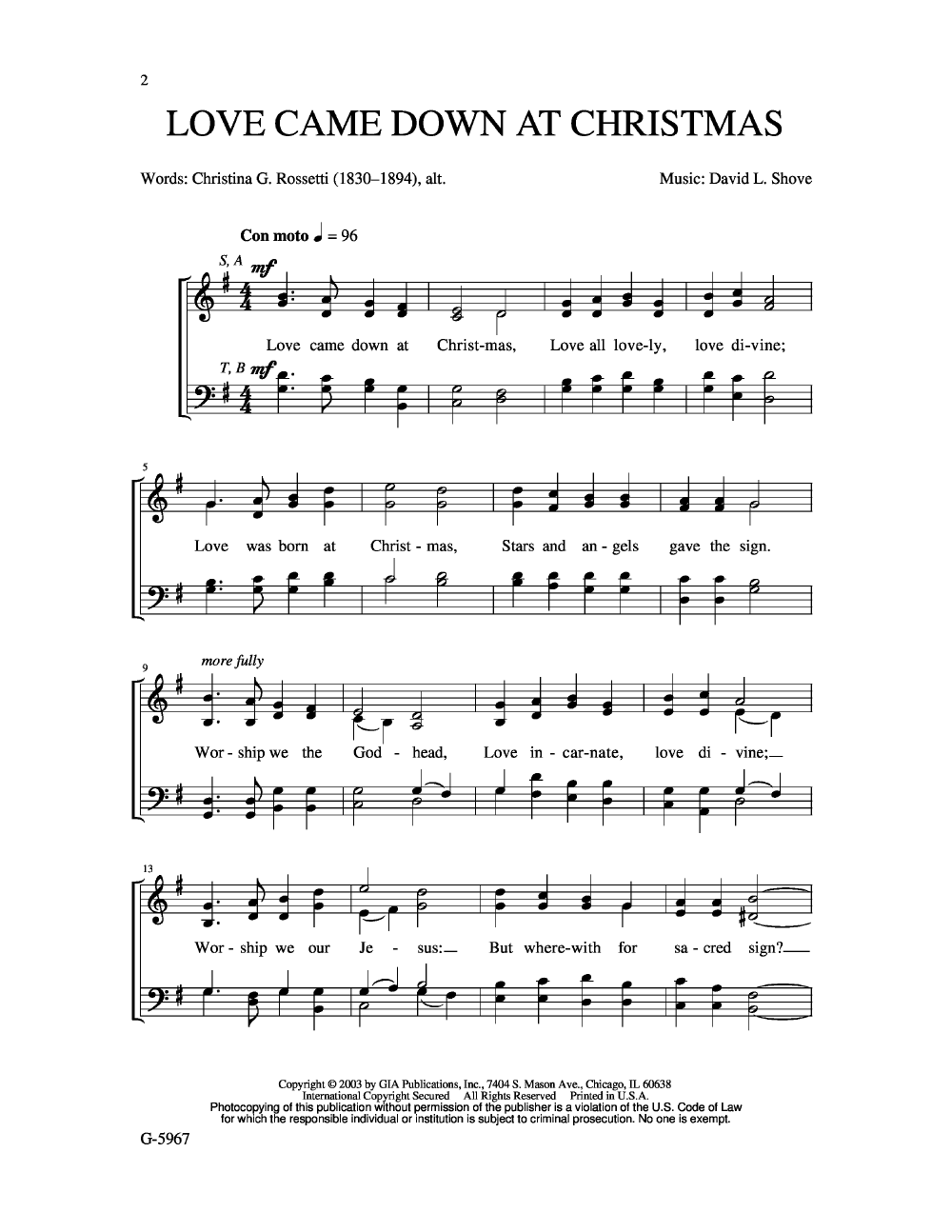 love came down at christmas satb by david jw pepper sheet music