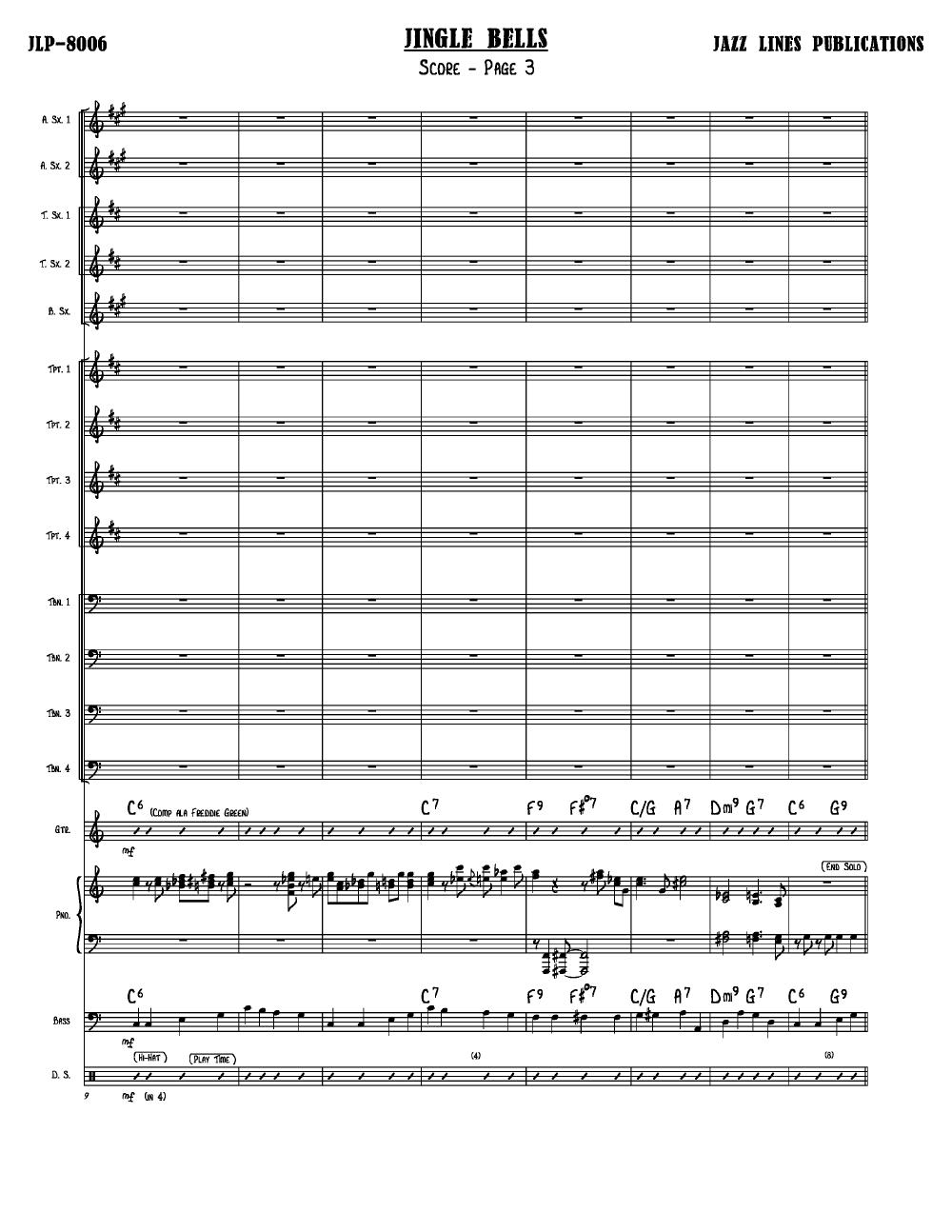 Jingle Bells Arr Ernie Wilkins Jw Pepper Sheet Music
