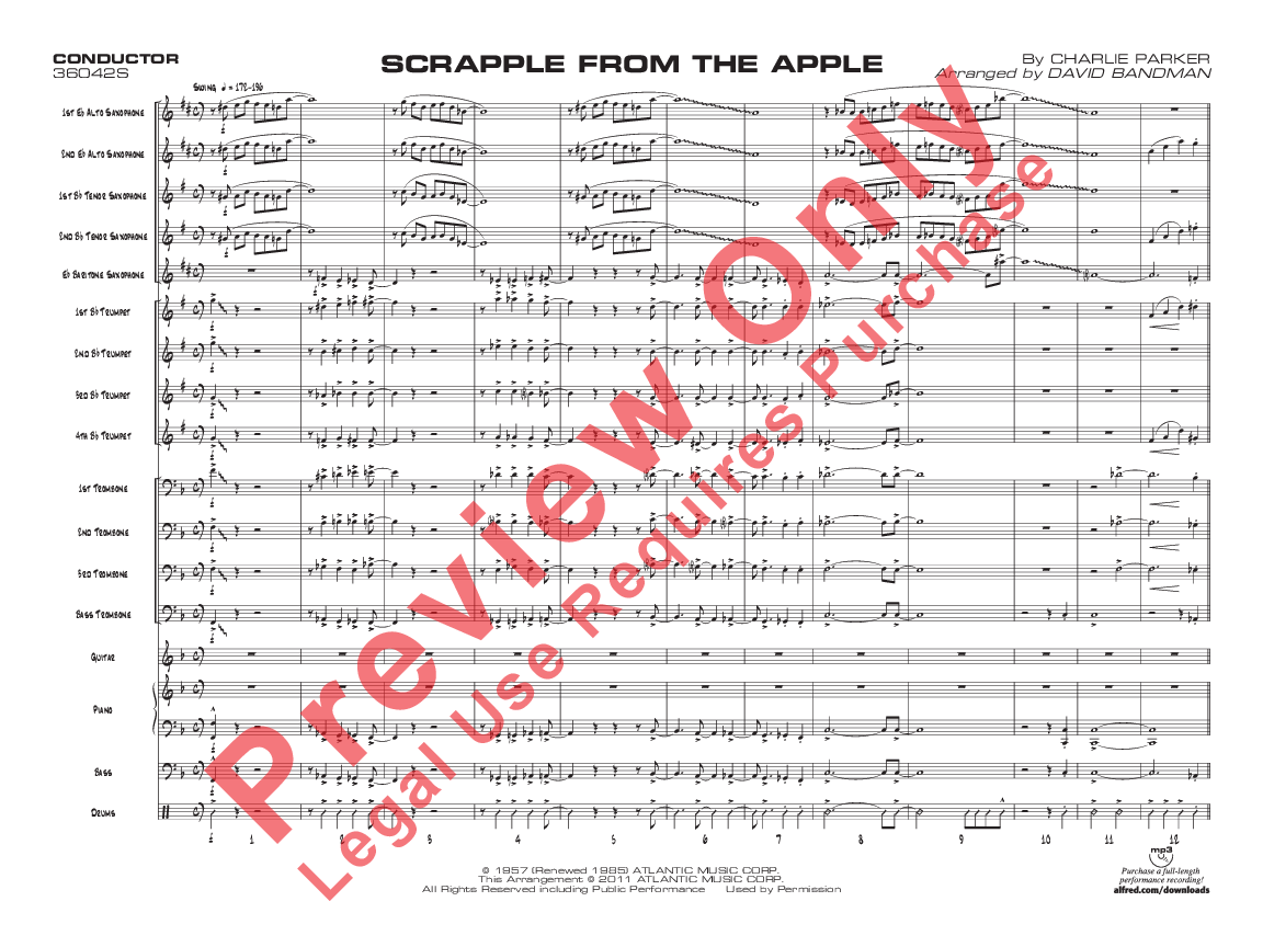 Scrapple From The Apple By Charlie Parker Arr Da J W Pepper Sheet Music