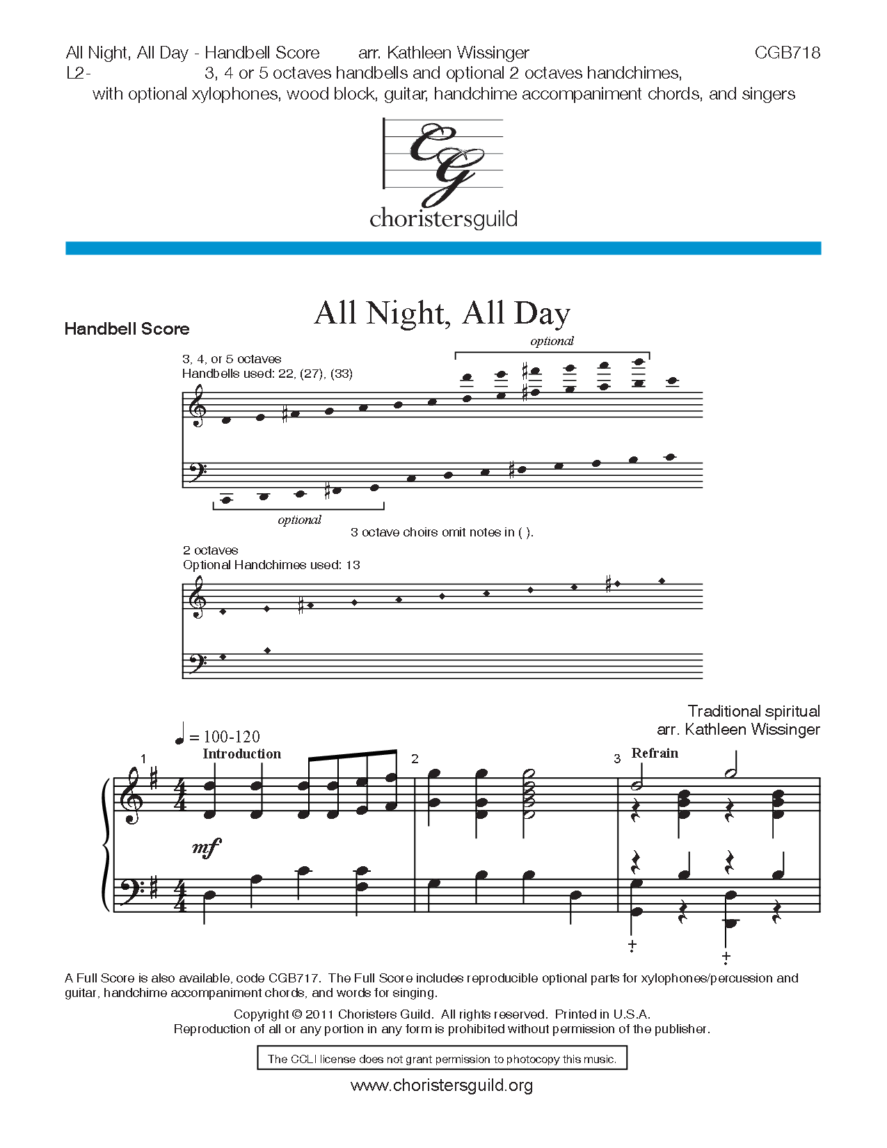 All Night All Day By Kathleen Wissinger Jw Pepper Sheet Music