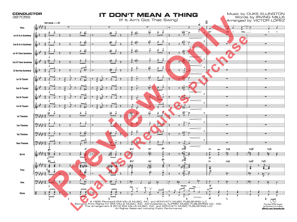 it don t mean a thing sheet music