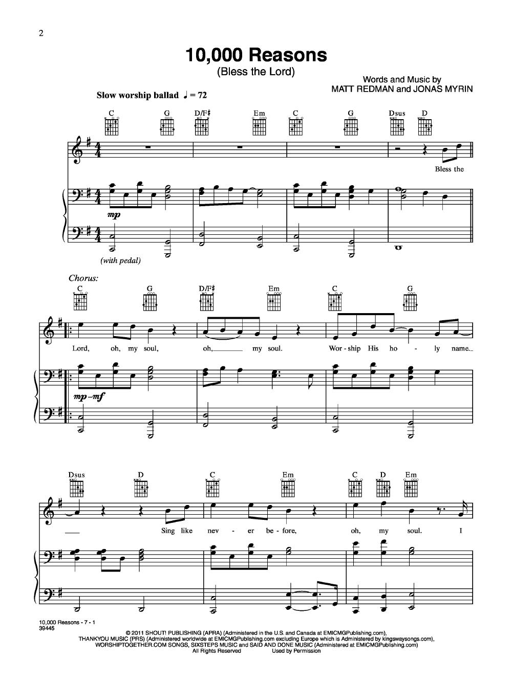 10000 Reasons By Matt Redman Jw Pepper Sheet Music