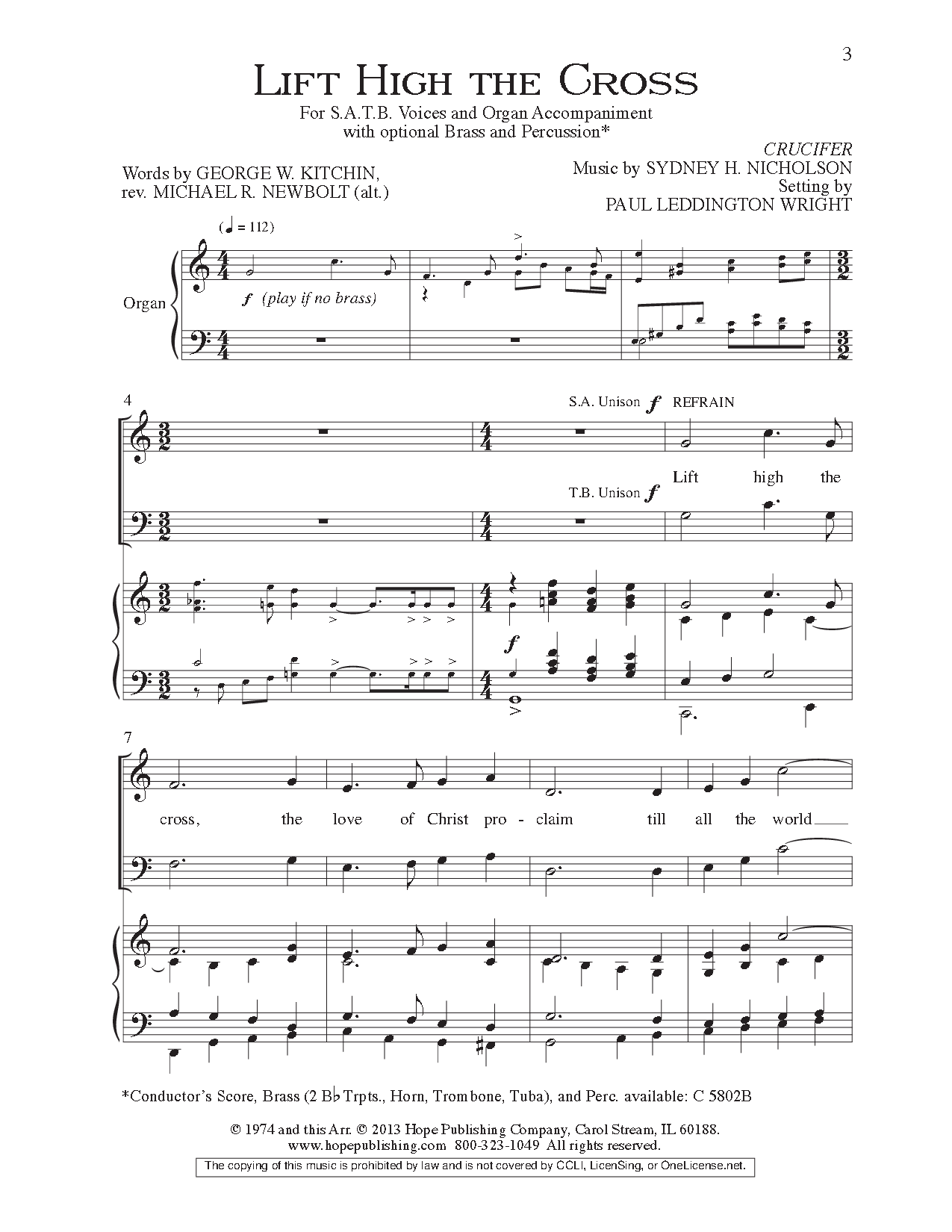 Lift High The Cross Satb By Sydney H Nic Jw Pepper Sheet Music