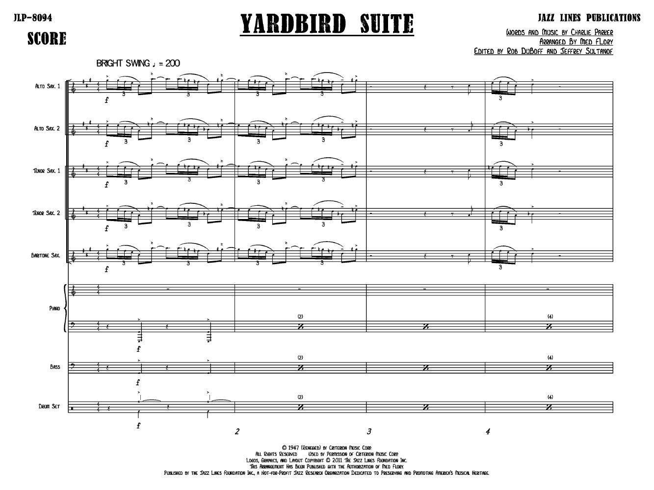 yardbird suite sheet music pdf