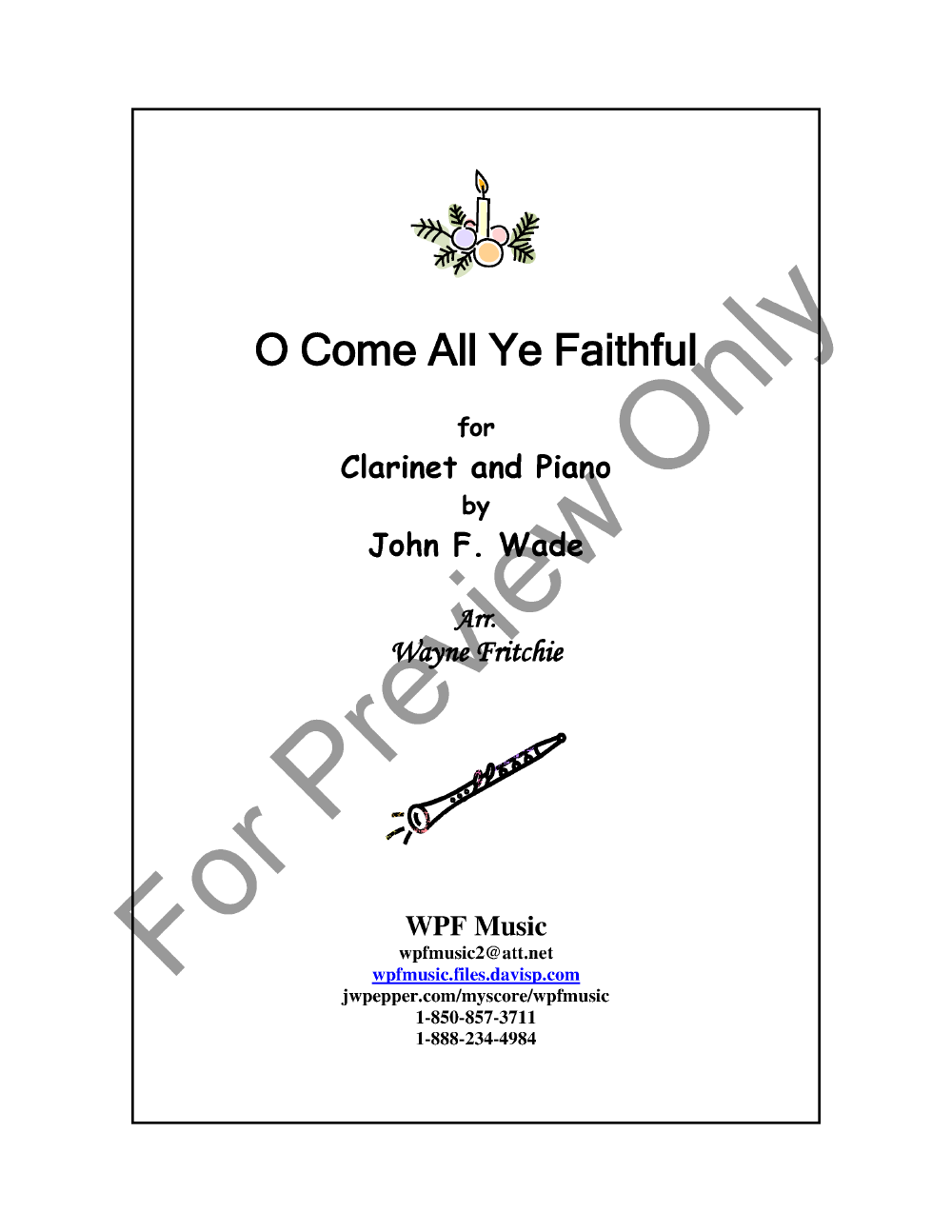 O Come All Ye Faithful Clarinet Solo With P Jw Pepper Sheet Music