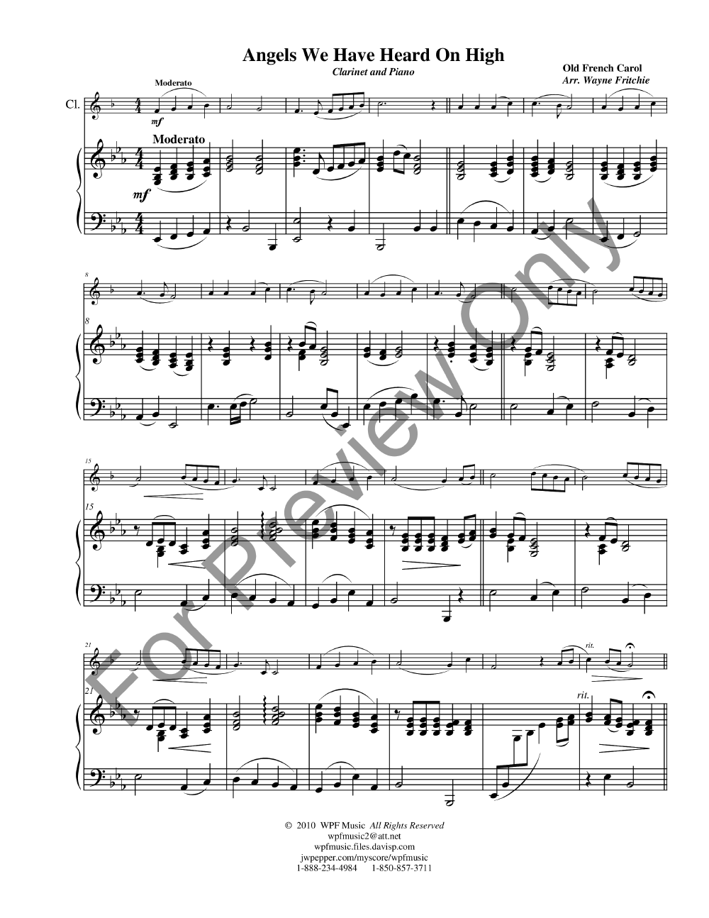 Angels We Have Heard On High Clarinet Solo Jw Pepper Sheet Music