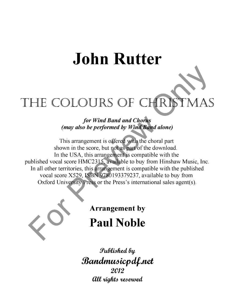 The Colours of Christmas by John Rutter/arr. Paul | J.W. Pepper ...