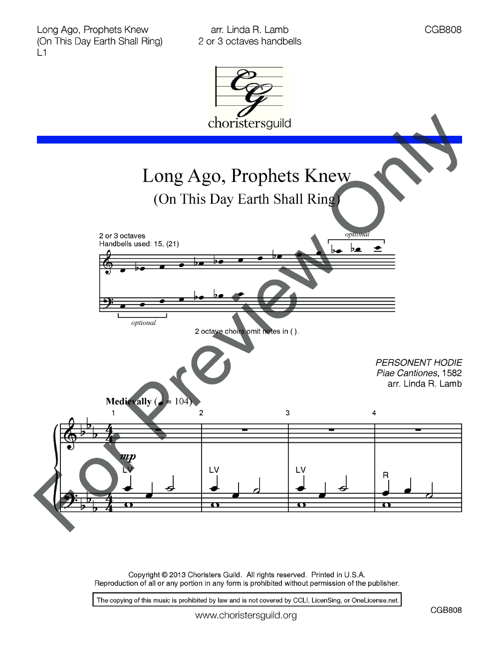 Long Ago Prophets Knew Arr Linda R Lamb Jw Pepper Sheet Music