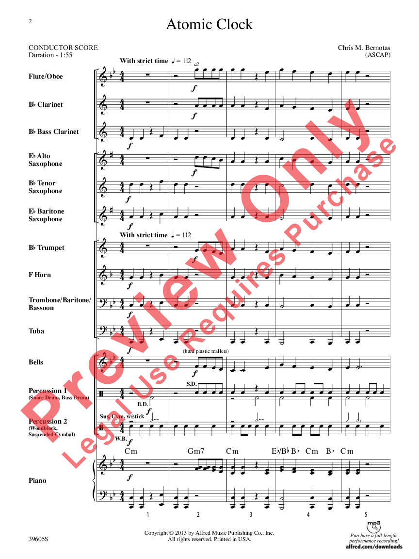 atomic clock additional score by chris m j w pepper sheet music