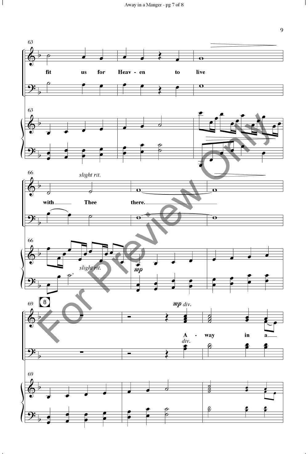 Away In A Manger Satb By William J Kirkp Jw Pepper Sheet Music