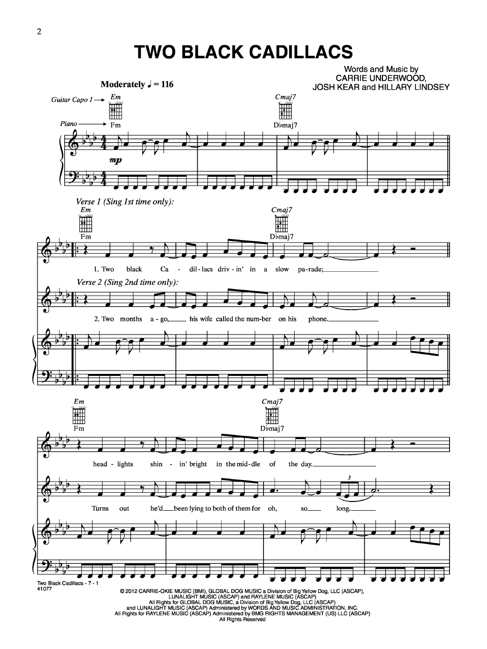 Two Black Cadillacs by Carrie Underwood| J.W. Pepper Sheet Music