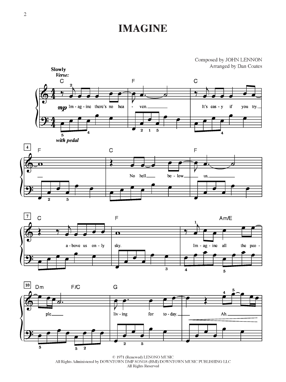 Imagine Easy Piano By John Lennon Jw Pepper Sheet Music