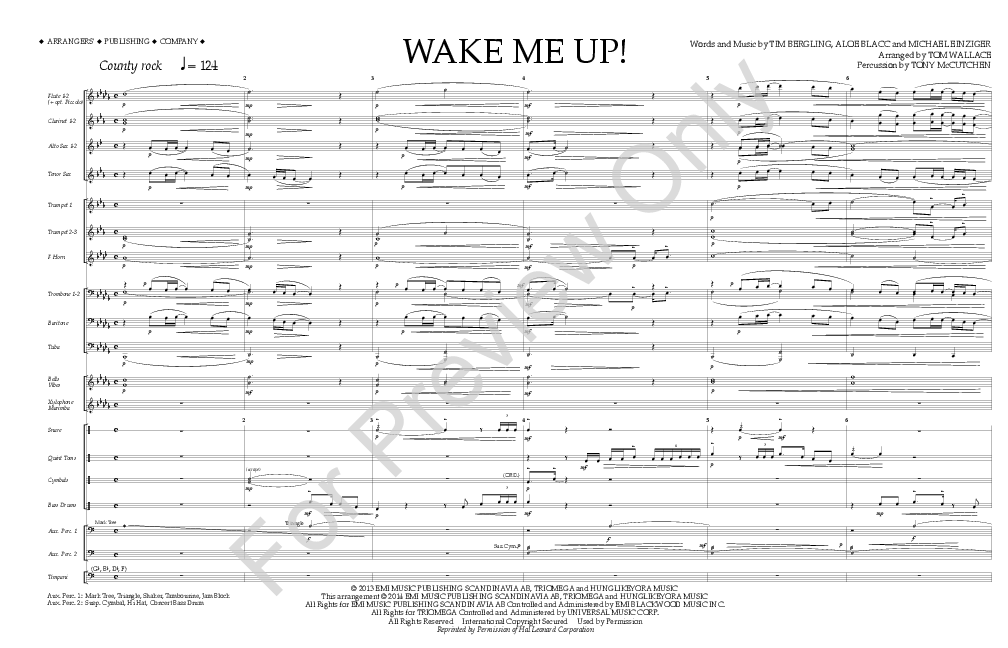 Wake Me Up Arr Tom Wallace Jw Pepper Sheet Music