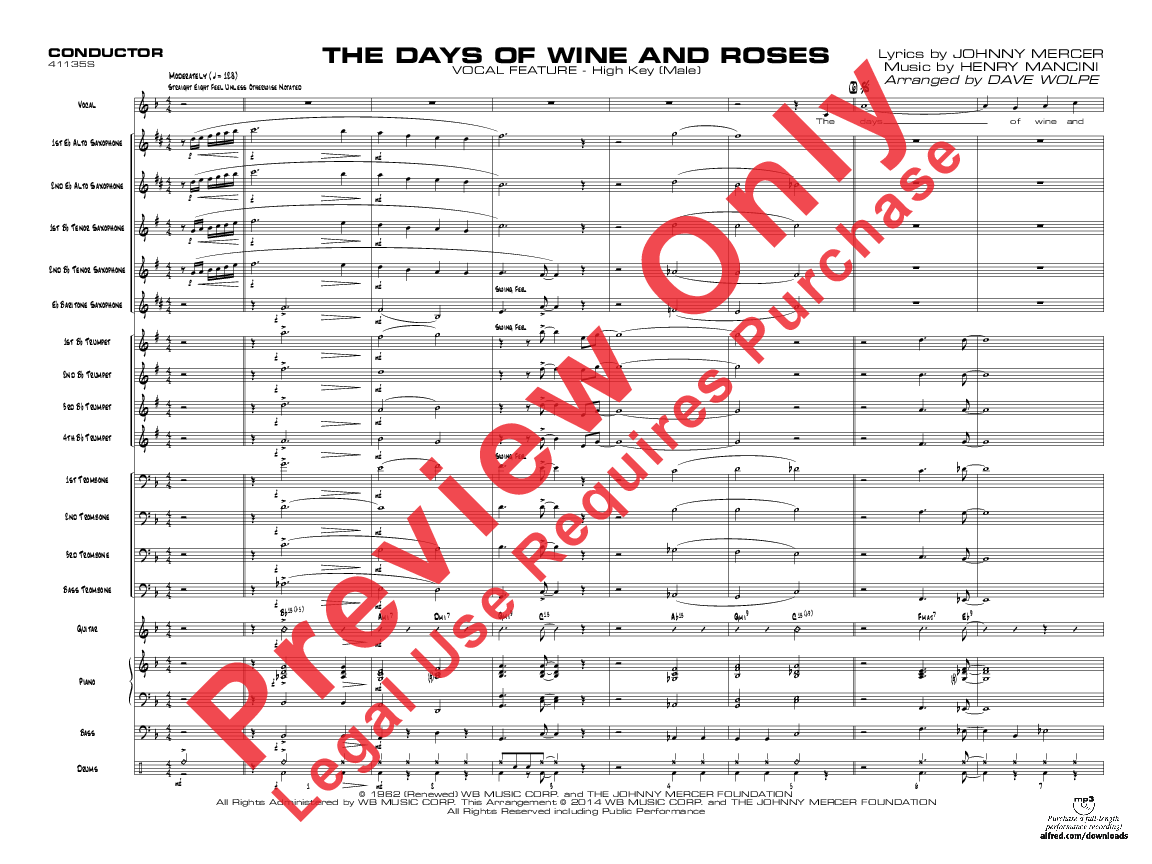 the days of wine and roses sheet music pdf