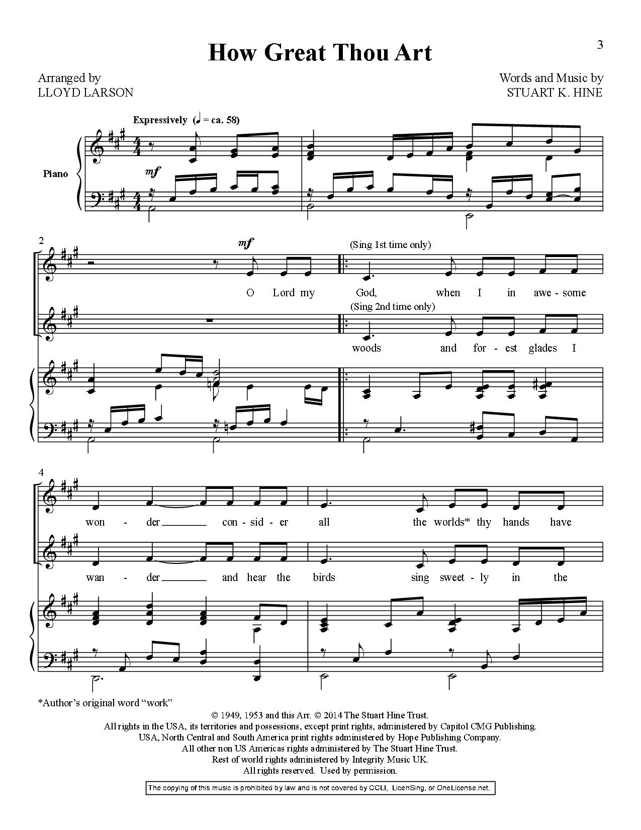 How Great Thou Art Highlow Duet By Jw Pepper Sheet Music