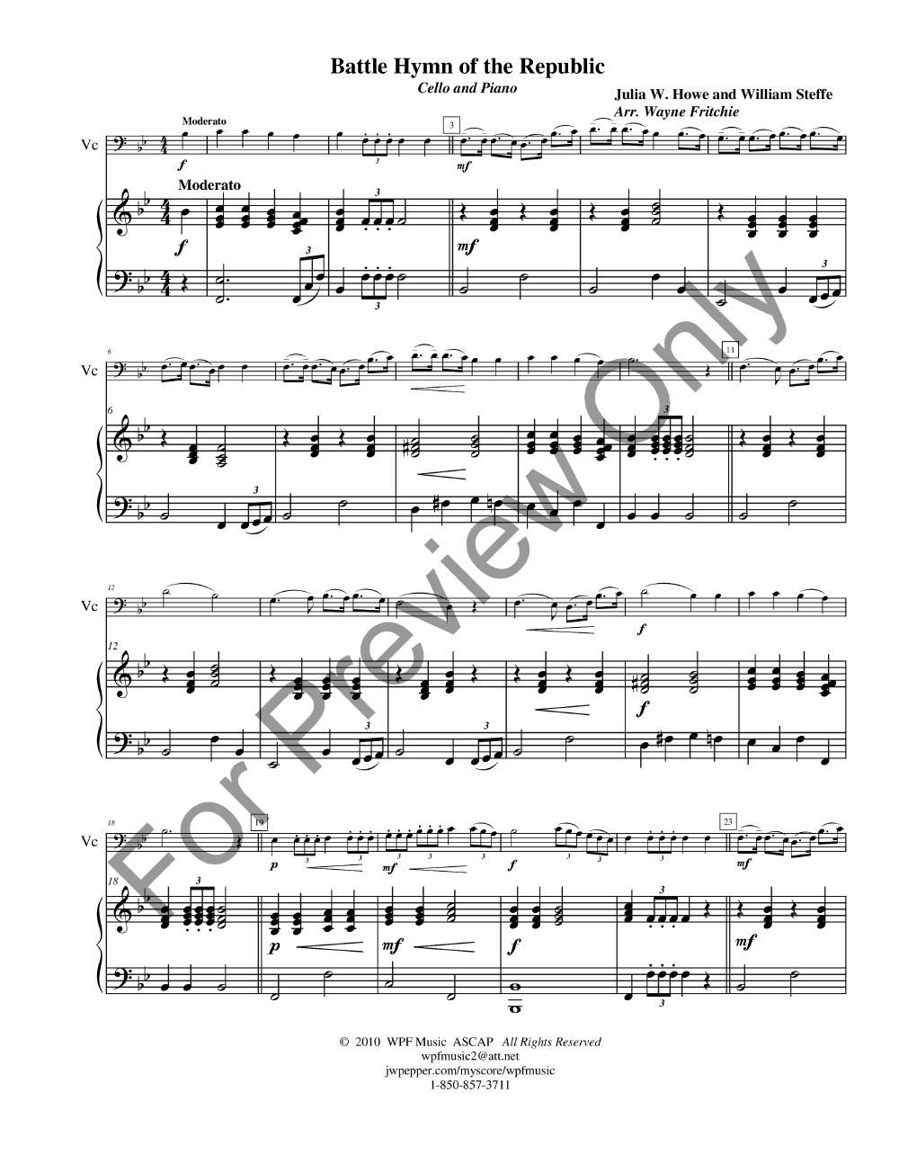 The Battle Hymn Of The Republic Cello Solo Jw Pepper Sheet Music