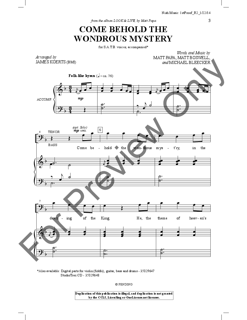 Come Behold the Wondrous Mystery SATB  arr   J.W. Pepper Sheet Music