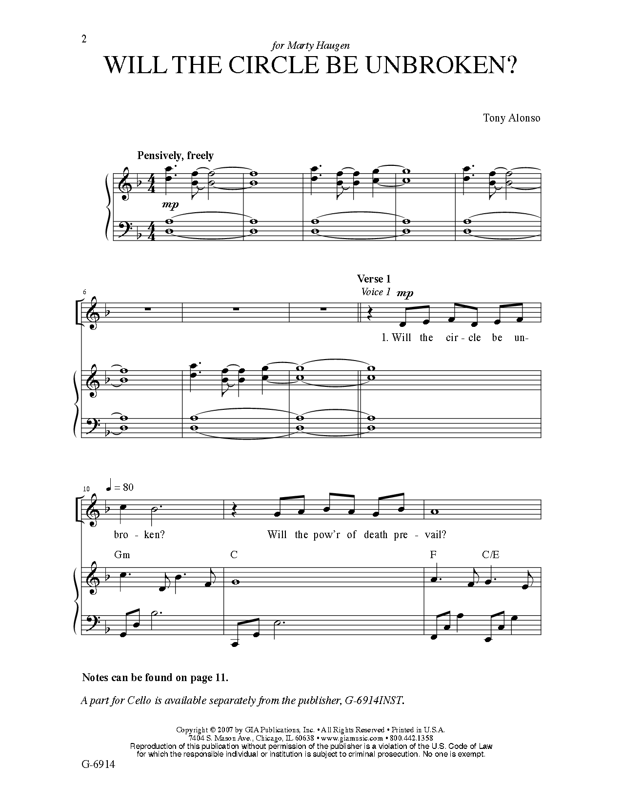 Will The Circle Be Unbroken Satb By Tony Jw Pepper Sheet Music