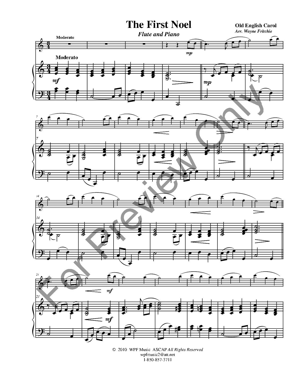 The First Noel Flute Solo With Piano Jw Pepper Sheet Music