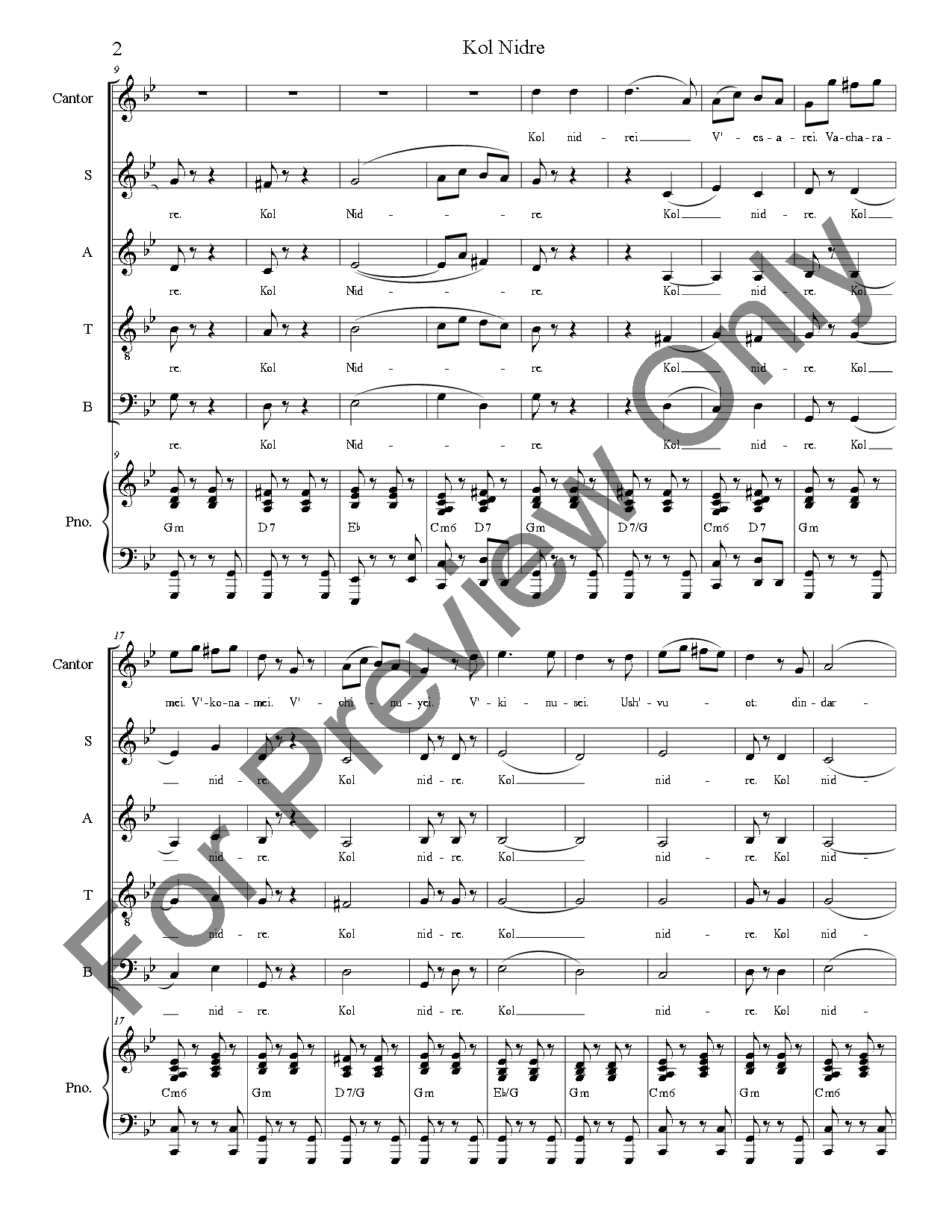 kol nidre sheet music