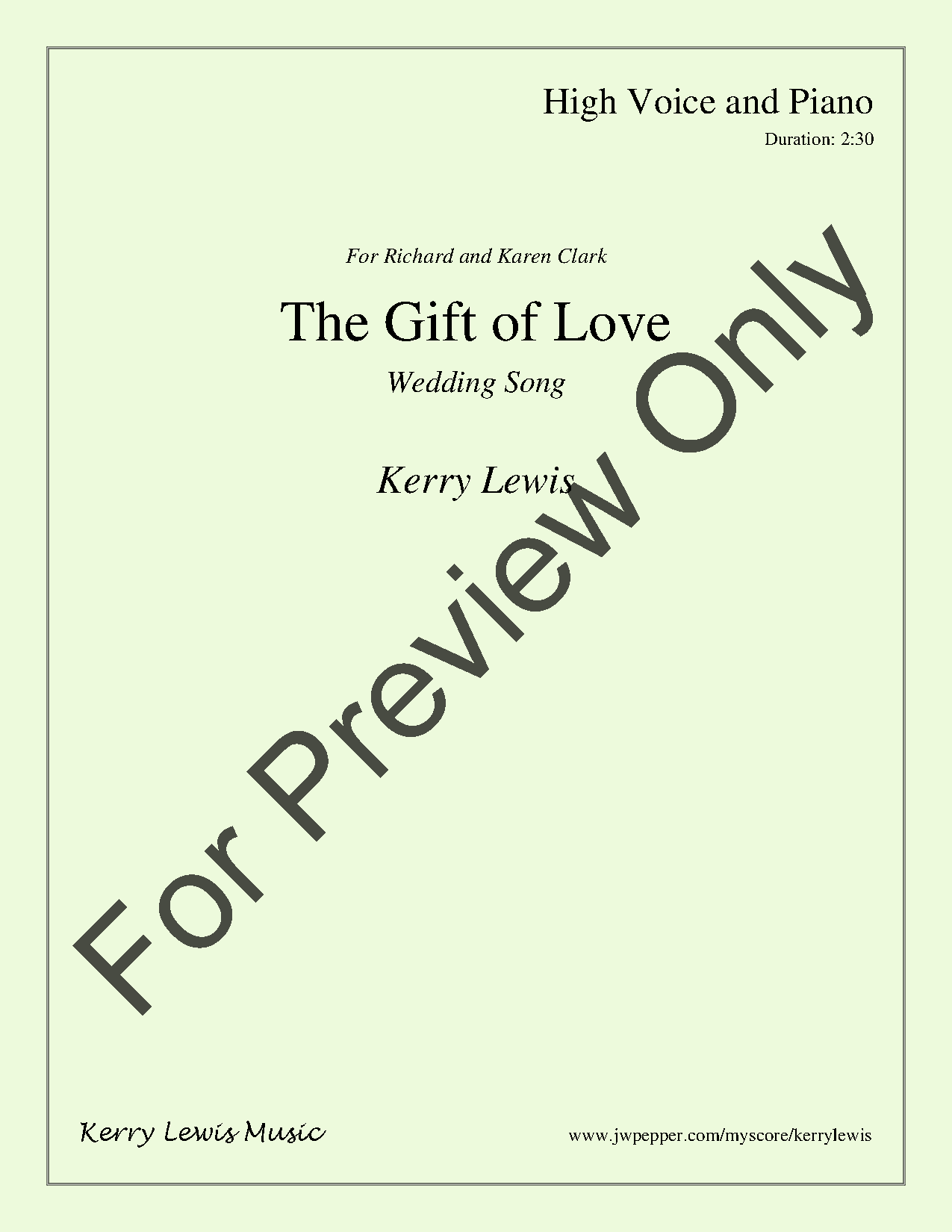 The Gift Of Love High Solo By Kerry Jw Pepper Sheet Music