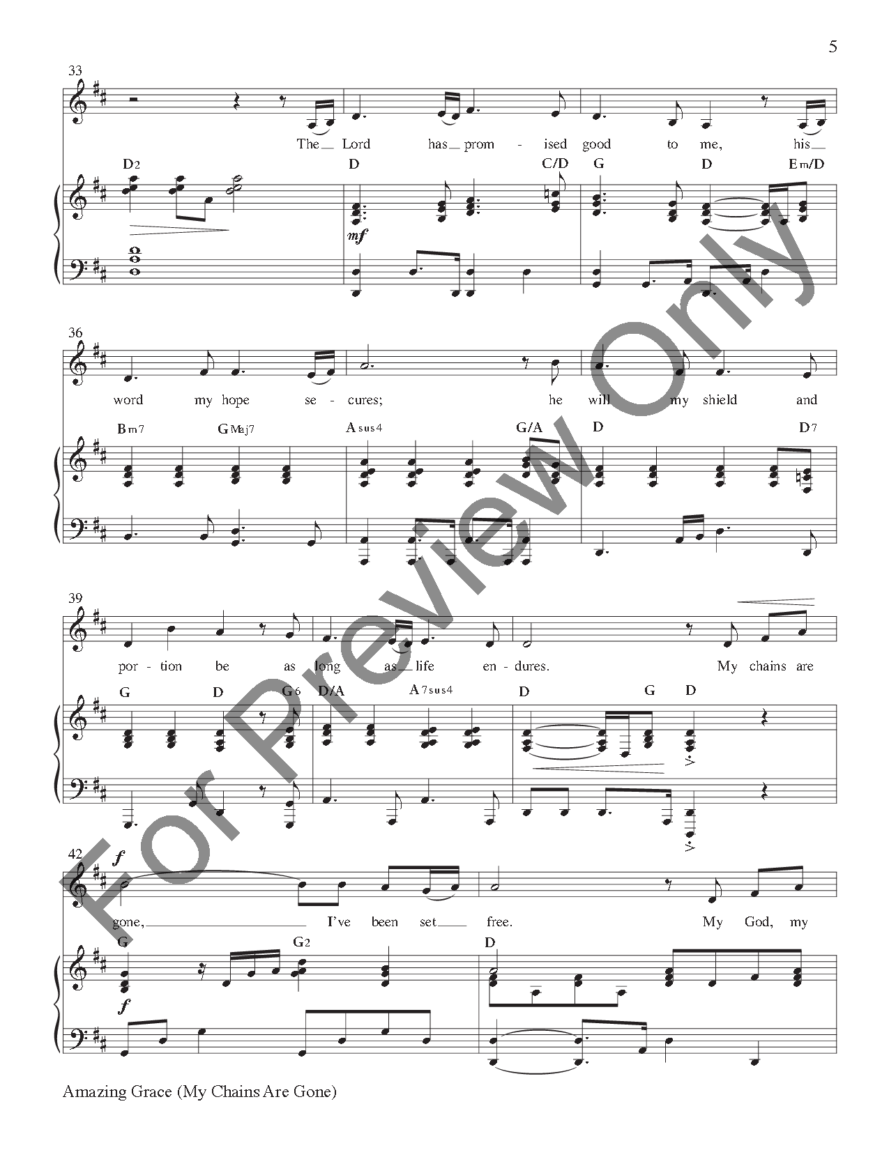 amazing grace my chains are gone free sheet music pdf