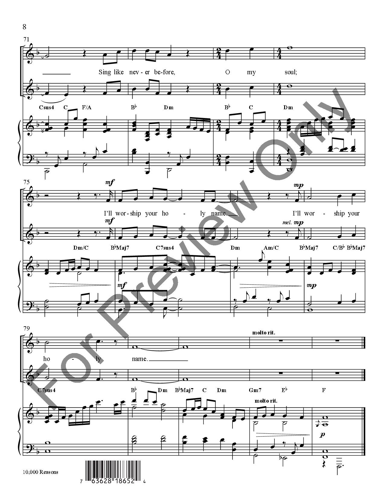 10000 Reasons Medium Duet Key Of E Fl Jw Pepper Sheet Music