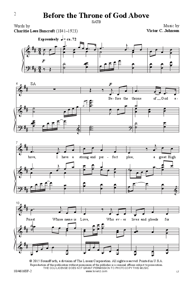 Before The Throne Of God Above Satb By Vi Jw Pepper Sheet Music