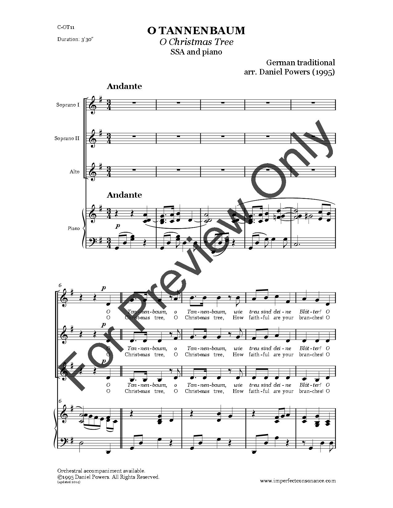 O Tannenbaum (SSA ) by Traditional/arr. Dani   J.W. Pepper Sheet Music