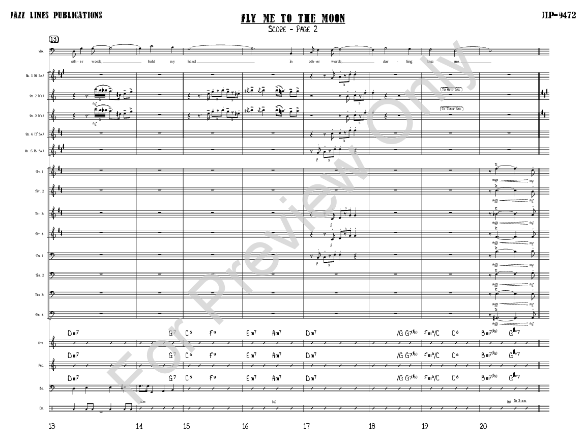 fly me to the moon trumpet sheet music