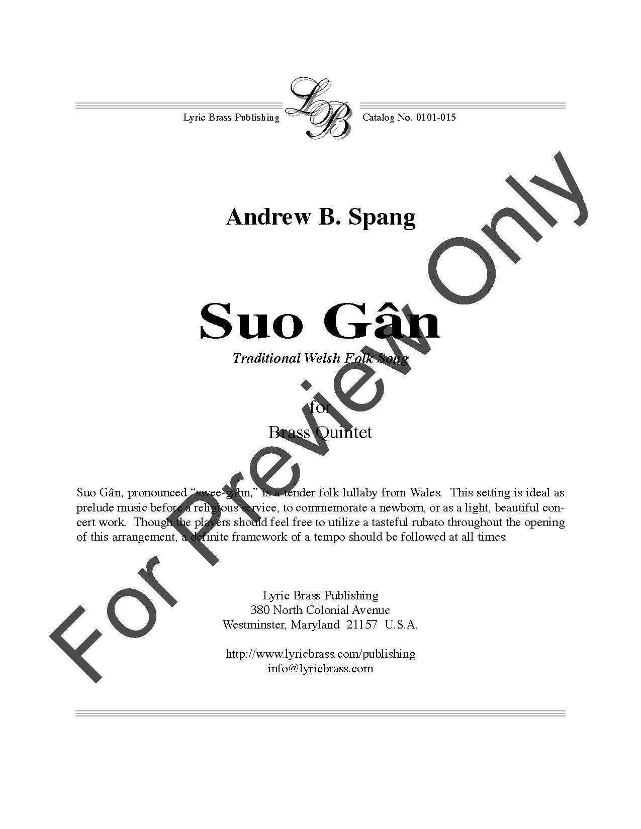 Suo Gan Brass Quintet By Traditional J W Pepper Sheet Music