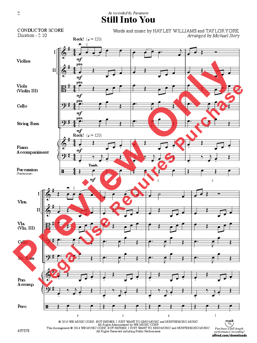 Still Into You Additional Score By Hayley Jw Pepper Sheet Music