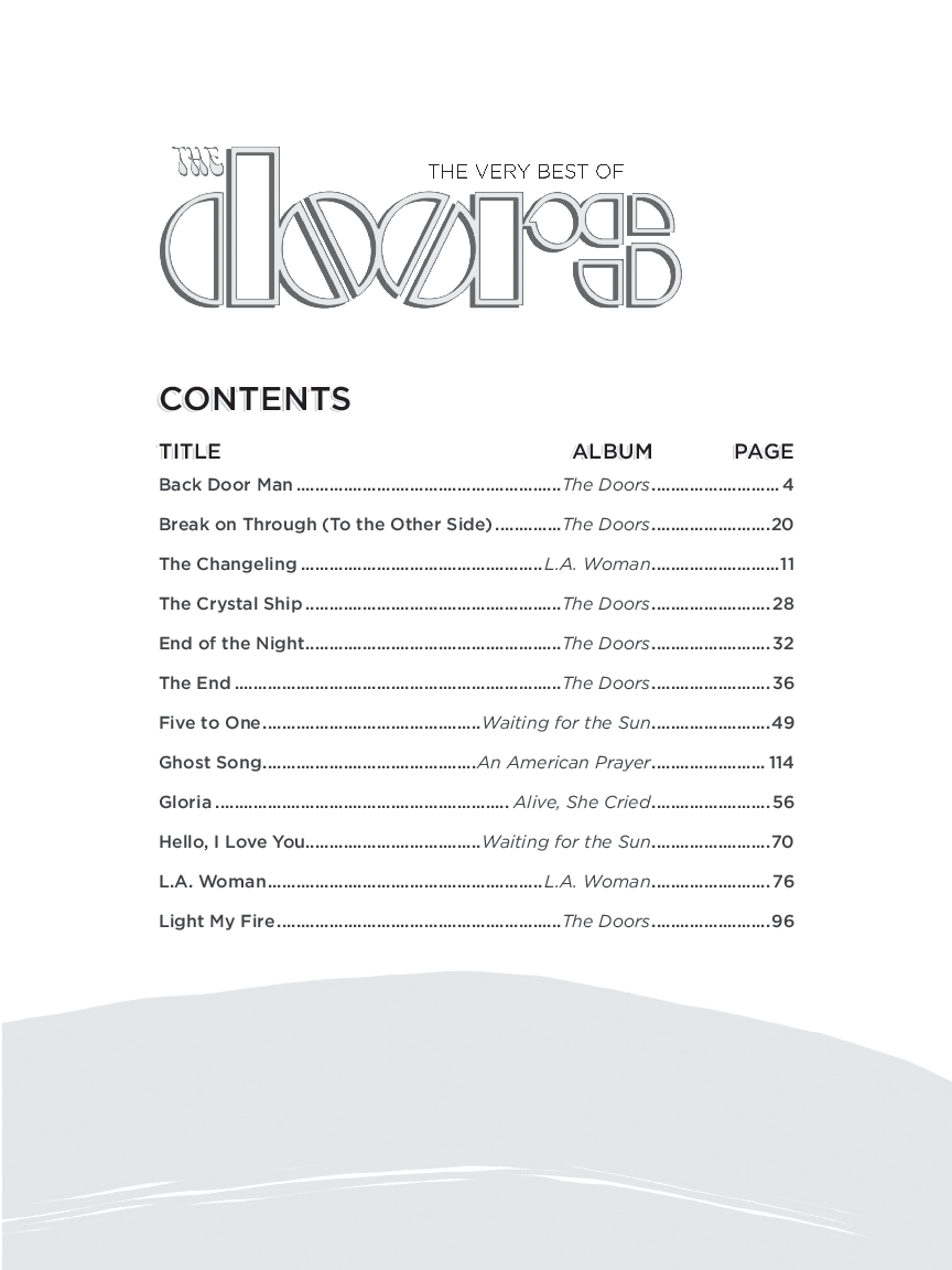 The Doors - Alfred Music Publishing  sc 1 st  JW Pepper Sheet Music & The Very Best of The Doors by The Doors| J.W. Pepper Sheet Music
