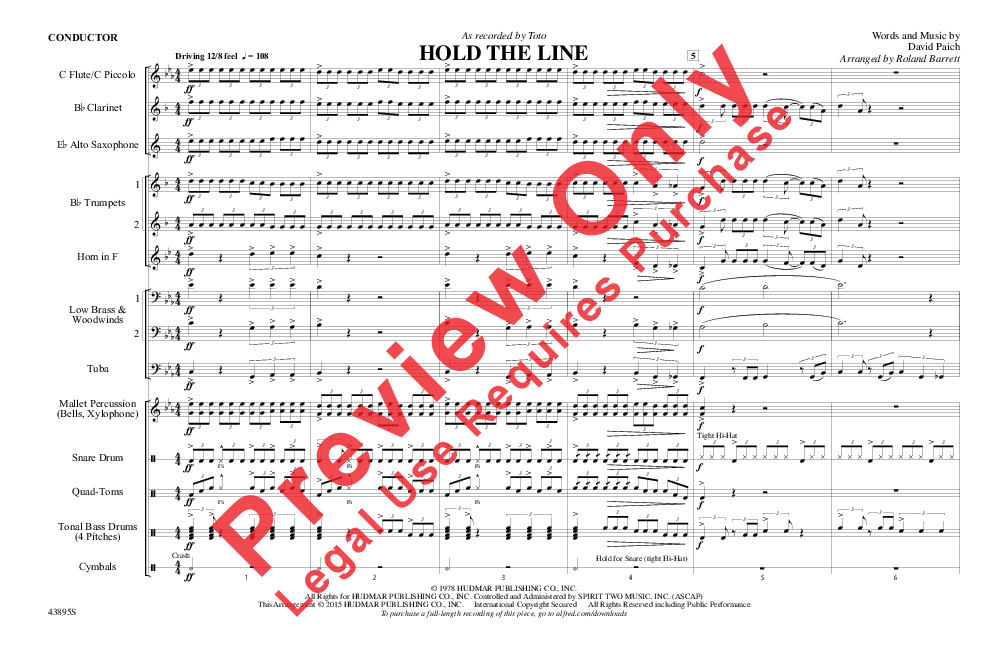 Hold the Line (Score) by Toto/arr. Roland Barrett| J.W. Pepper Sheet ...